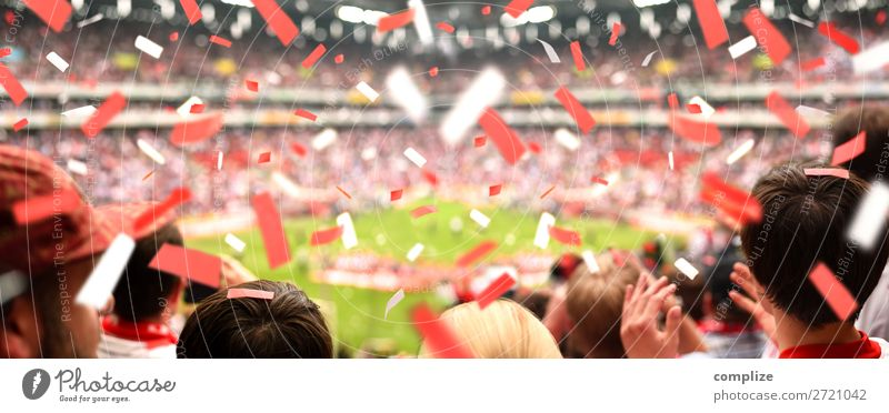 Begeisterte Fussball-Fans im Stadion | Panorama Mensch Freude Sport Glück Feste & Feiern Freizeit & Hobby Erfolg Sportmannschaft Panorama (Bildformat) Show