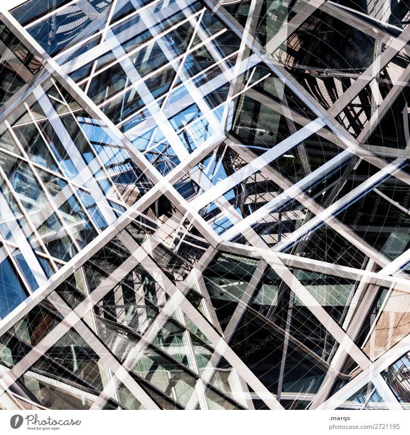 Random provisorisch Konstruktion kompliziert komplex Metall Linie Chaos Strukturen & Formen Architektur abstrakt Muster Stahl Doppelbelichtung Nahaufnahme Glas