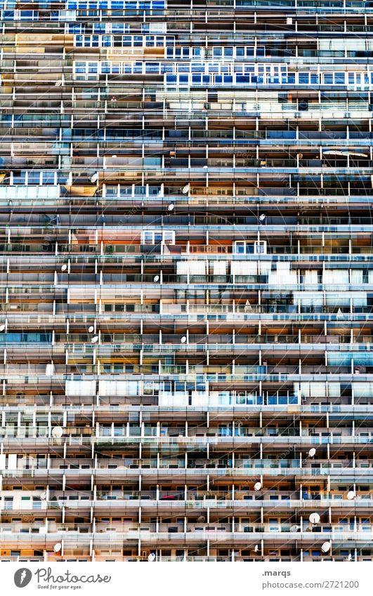 Wohnsitz Stadt überbevölkert Haus Fassade Balkon Fenster Häusliches Leben viele chaotisch Sozialstaat Sozialer Brennpunkt Immobilienmarkt Etage Hochhaus