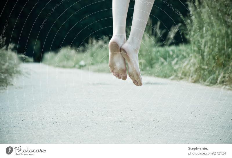 Sprunghafte Schmutzfüße Mensch Pflanze Sommer Wiese Leben Gras Freiheit Wege & Pfade Glück Stein springen Beine Fuß Feld außergewöhnlich natürlich