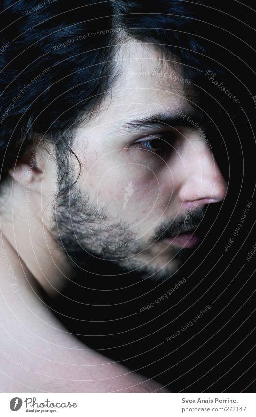 vor meinem auge nur hirnmasse. maskulin Kopf Haare & Frisuren Gesicht Auge Nase Mund Schulter 1 Mensch 18-30 Jahre Jugendliche Erwachsene schwarzhaarig brünett