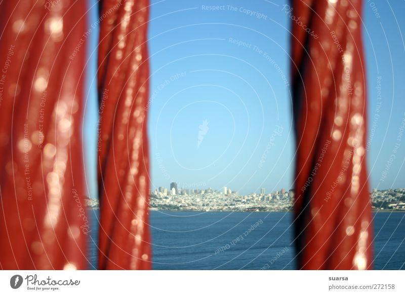 golden gate bridge blau Stadt rot Metall Beton Hochhaus Abenteuer Brücke USA festhalten Tor Skyline entdecken Amerika Hafenstadt