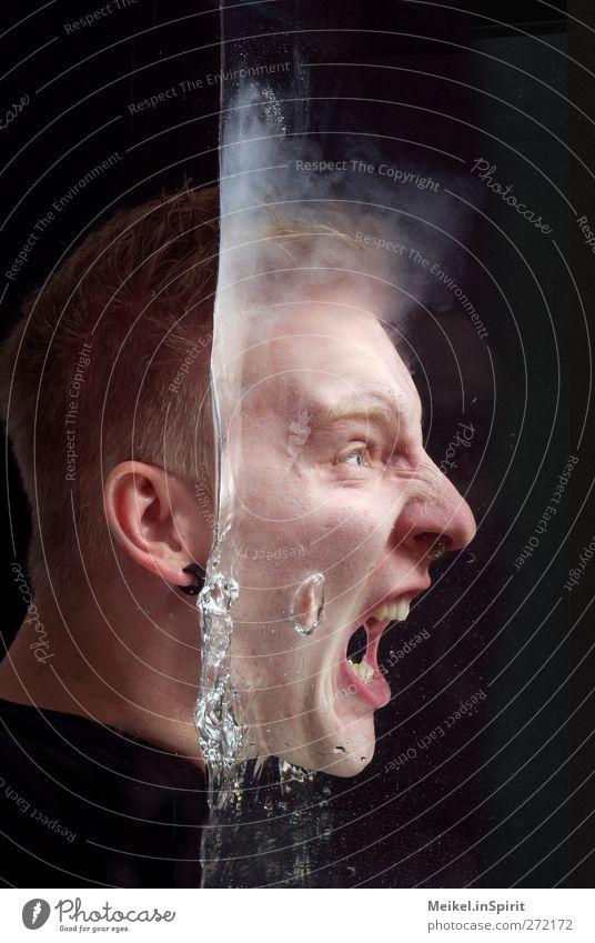 Schrei Mensch Jugendliche Wasser schwarz Erwachsene dunkel Tod Gefühle Kopf Angst maskulin 18-30 Jahre gefährlich bedrohlich gruselig Flüssigkeit