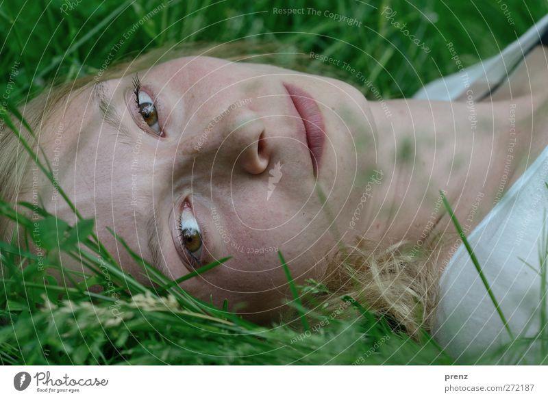 Frau Portrait 4 feminin Junge Frau Jugendliche Kopf 1 Mensch 18-30 Jahre Erwachsene Wiese liegen Blick Blick in die Kamera blond Gras Farbfoto Außenaufnahme