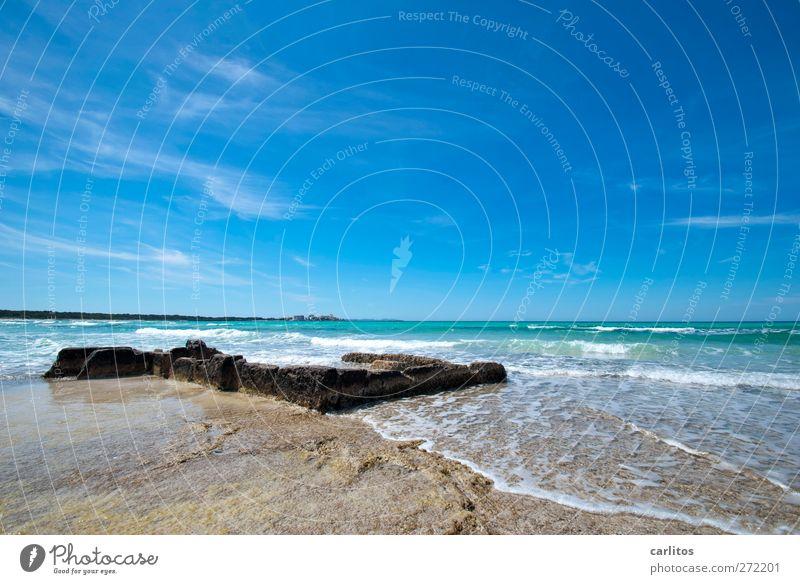 Tag am Meer Himmel blau Wasser Ferne Bewegung Küste Luft Horizont Wellen Felsen ästhetisch Urelemente Schönes Wetter türkis Mittelmeer