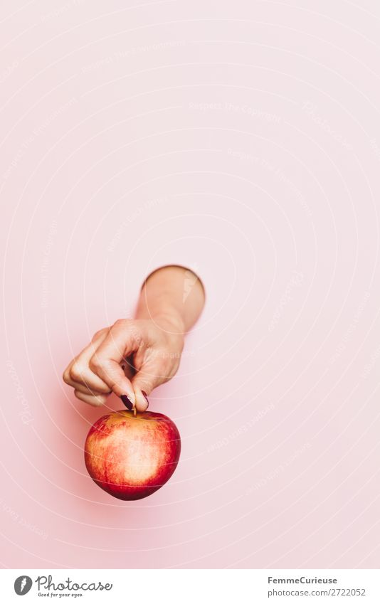 A woman's hand holding an apple Lebensmittel Ernährung Frühstück Büffet Brunch Picknick Bioprodukte Vegetarische Ernährung Diät feminin Frau Erwachsene 1 Mensch