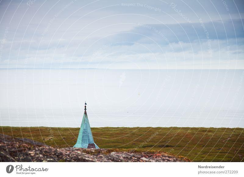Außenposten Himmel Meer Einsamkeit Wolken ruhig Landschaft dunkel Architektur Küste Religion & Glaube Horizont Klima Tourismus Kirche Urelemente