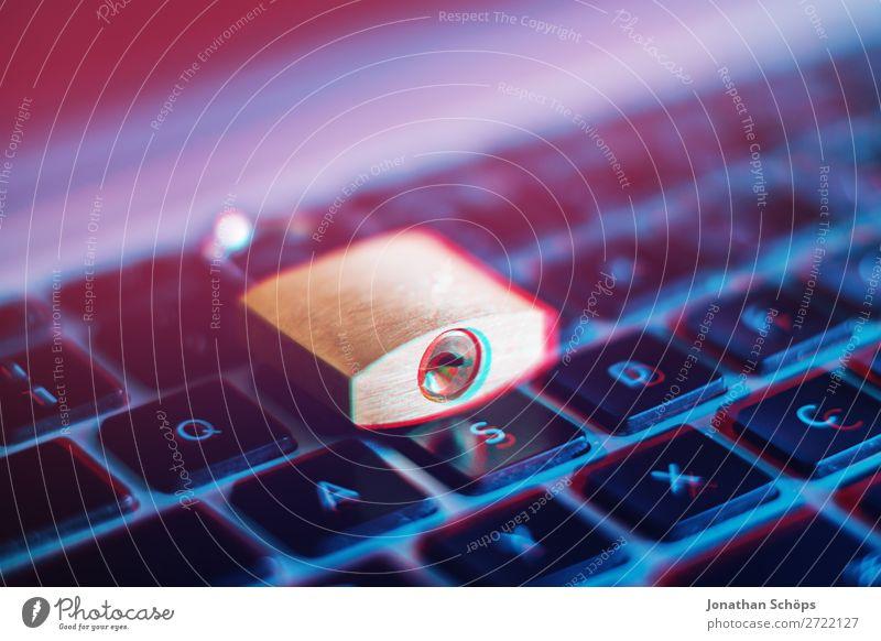 Notebooktastatur mit Schloss als Symbol für die Verschlüsselung gdpr Allgemeine Datenschutzbestimmungen Business Konformität Computer Textfreiraum