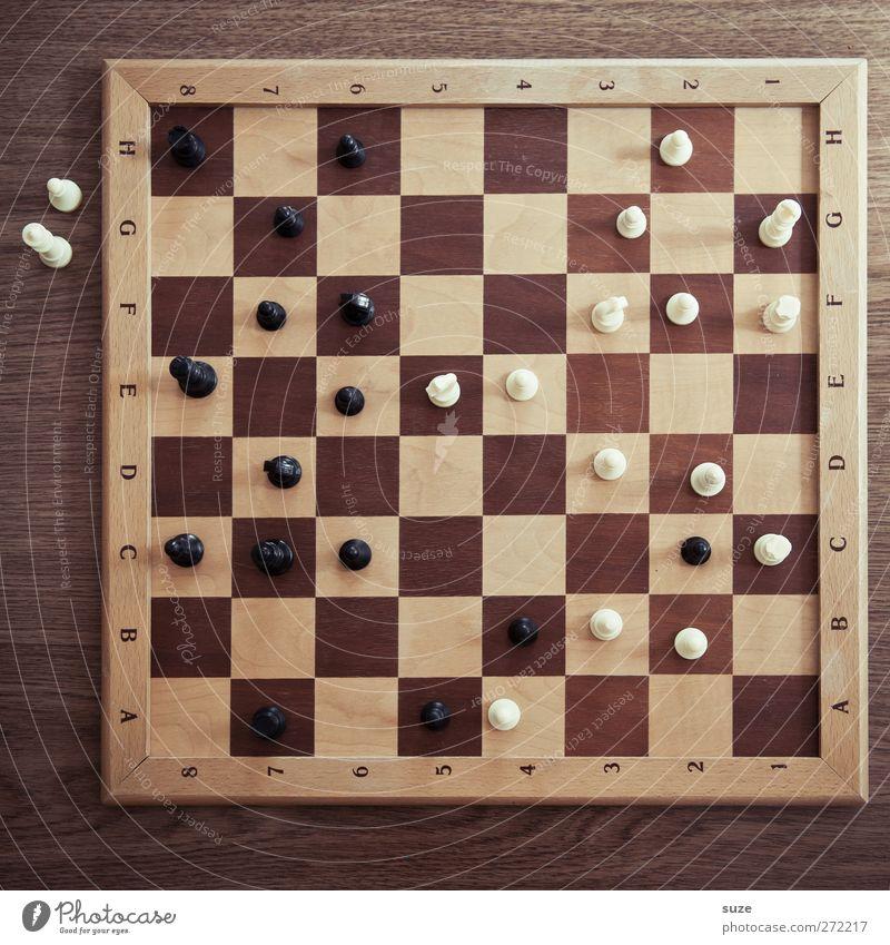 Zuschauer weiß schwarz Spielen Holz Denken braun Freizeit & Hobby Konzentration Quadrat Holzbrett Schach Schachbrett Schachfigur Spielfigur Maserung klassisch