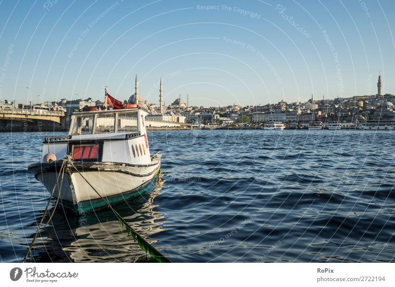 Fischerboot am Goldenen Horn. Angeln Ferien & Urlaub & Reisen Tourismus Sightseeing Städtereise Sommer Wellen Umwelt Landschaft Wasser Wolkenloser Himmel