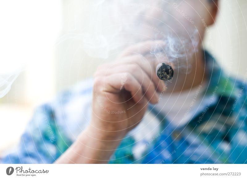 Raucher Mensch Mann blau Hand Erwachsene Tod maskulin Coolness Rauchen 45-60 Jahre genießen Rauch Reichtum Kuba Sucht Glut