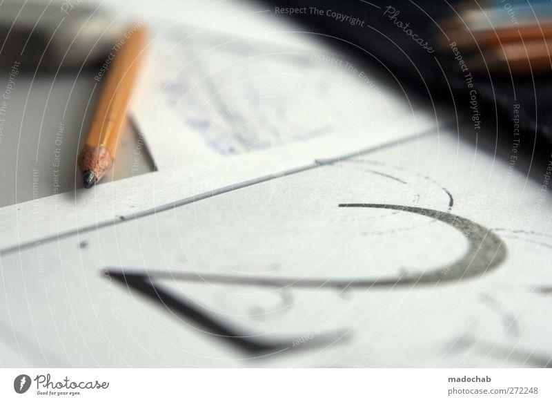 Auf zwei Bleistiften kann man nicht stehen Wirtschaft Medienbranche Zeichen Ziffern & Zahlen machen zeichnen ästhetisch Ordnungsliebe Bildung Kunst