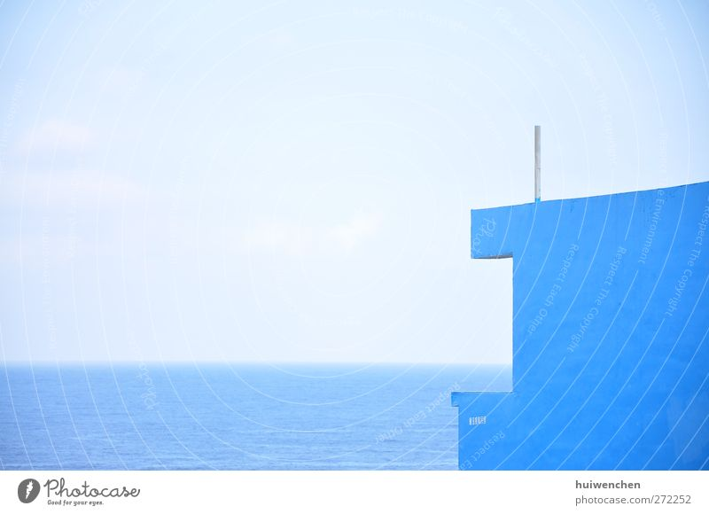 blau, blau, blau, blau, blau Natur Landschaft Wasser Himmel Horizont Sommer Klima Schönes Wetter Küste Meer Pazifik Beton ästhetisch Frieden Gelassenheit