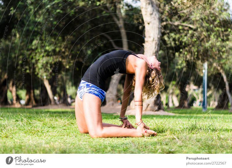 Yoga - Yogalehrerin mit Kamelhaltung Ustrasana Asana Asana Lifestyle schön Wellness Berge u. Gebirge Sport Mensch Frau Erwachsene Natur Fitness verblüht dünn