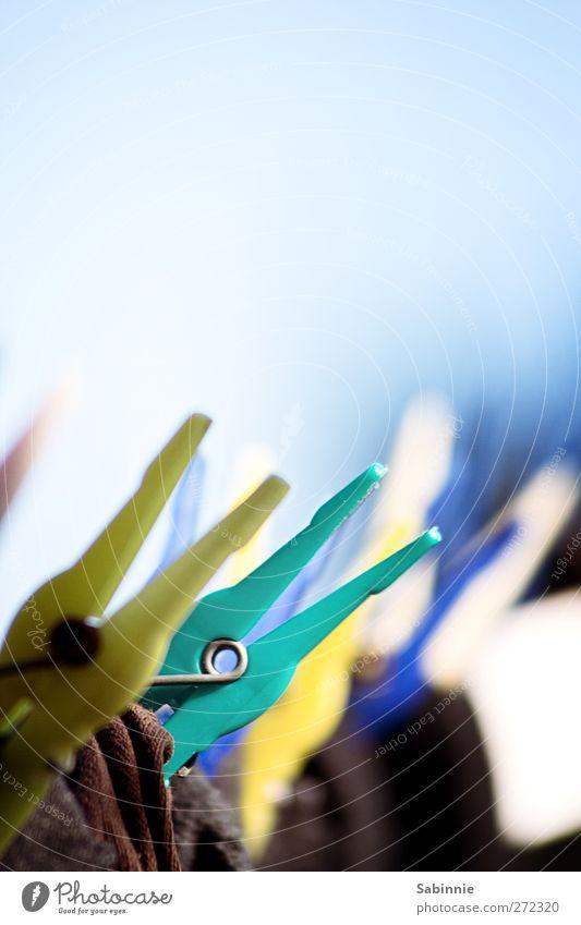 Auf der Leine Wäscheleine Wäscheklammern Wäsche waschen Strümpfe blau braun gelb grün Farbfoto mehrfarbig Außenaufnahme Nahaufnahme Detailaufnahme Menschenleer