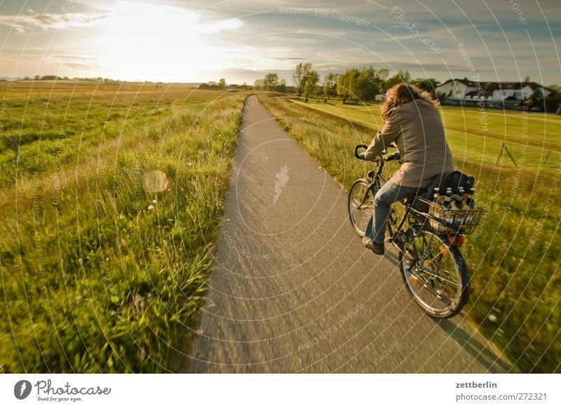 Lobbe Frau Natur Ferien & Urlaub & Reisen Sommer Meer Erwachsene Erholung Ferne Landschaft Wege & Pfade Horizont Feld Rücken Klima Freizeit & Hobby Tourismus