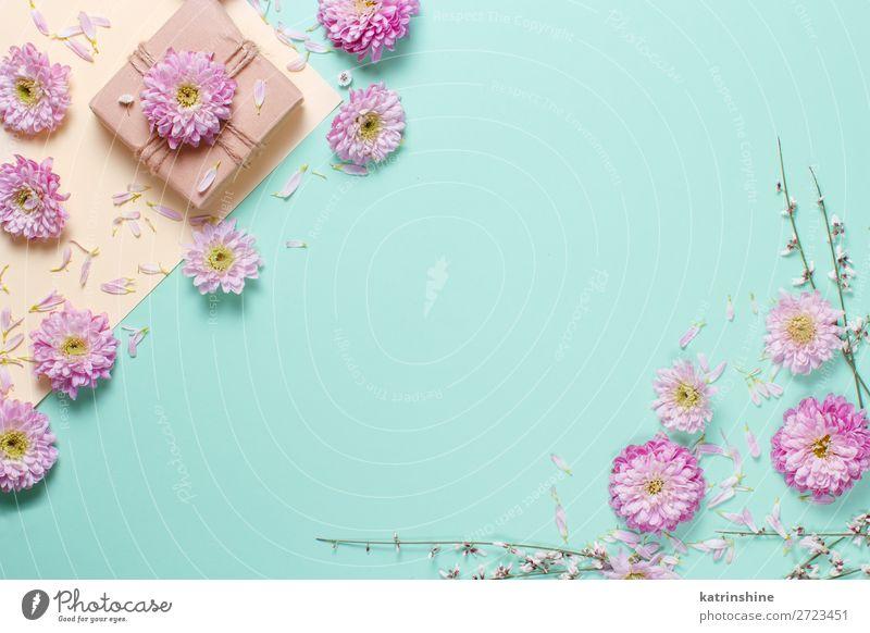Blumenkomposition mit Blumen und Geschenkbox Design Dekoration & Verzierung Hochzeit Frau Erwachsene Mutter Kunst oben gelb rosa Kreativität Hintergrund