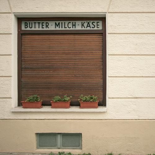 BUTTER • MILCH • KÄSE Lebensmittel Butter Milch Käse Pflanze Grünpflanze Topfpflanze Dorf Stadt Menschenleer Haus Mauer Wand Fassade Fenster Schaufenster