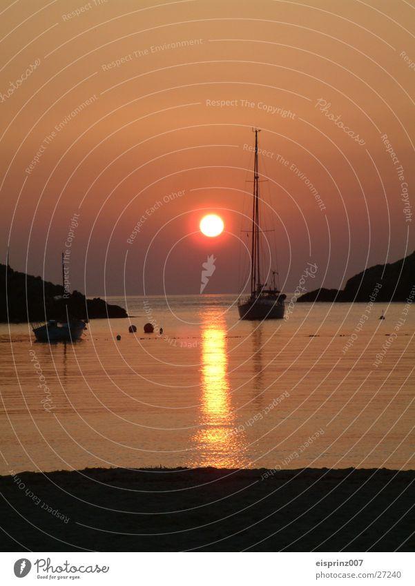 ibiza romanze Sonne Strand Segelboot Abendsonne