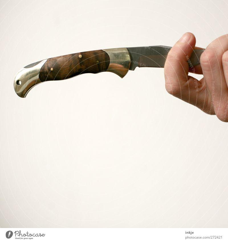 Zielwurf Freizeit & Hobby Hand Klappmesser Messer festhalten werfen bedrohlich einfach Gefühle Stimmung Laster Feindseligkeit Rache Gewalt Aggression