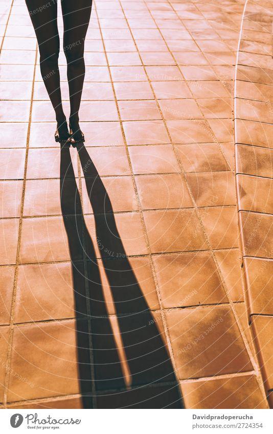 Frauenbeine, die einen Schatten auf dem Boden werfen. feminin Junge Frau Jugendliche Erwachsene Körper Beine Fuß 1 Mensch 18-30 Jahre Schwimmen & Baden