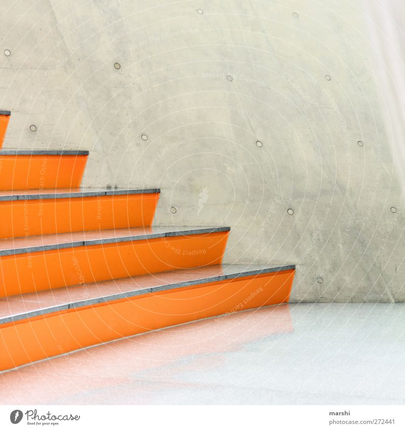 DesignerStufen Bauwerk Gebäude Architektur Mauer Wand Treppe Fassade grau orange sitzen Beton Betonwand Betonmauer abstrakt Stil Stilrichtung Glätte Stein