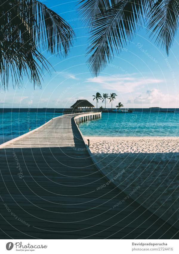 Malediven Insel Luxusresort Holzpier Anlegestelle Ferien & Urlaub & Reisen Lagune Idylle Reichtum Landschaft Küste tropisch Paradies exotisch Riff Aussicht
