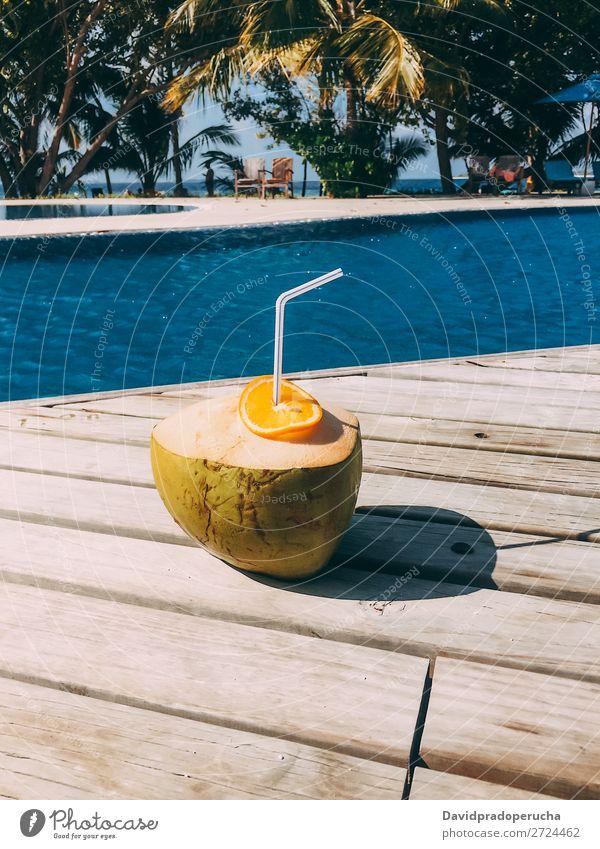 Frische Kokosnuss am Schwimmbad Malediven Orange Frucht Saft Gesundheit Ferien & Urlaub & Reisen trinken Resort frisch Erholung Insel Idylle Reichtum Landschaft