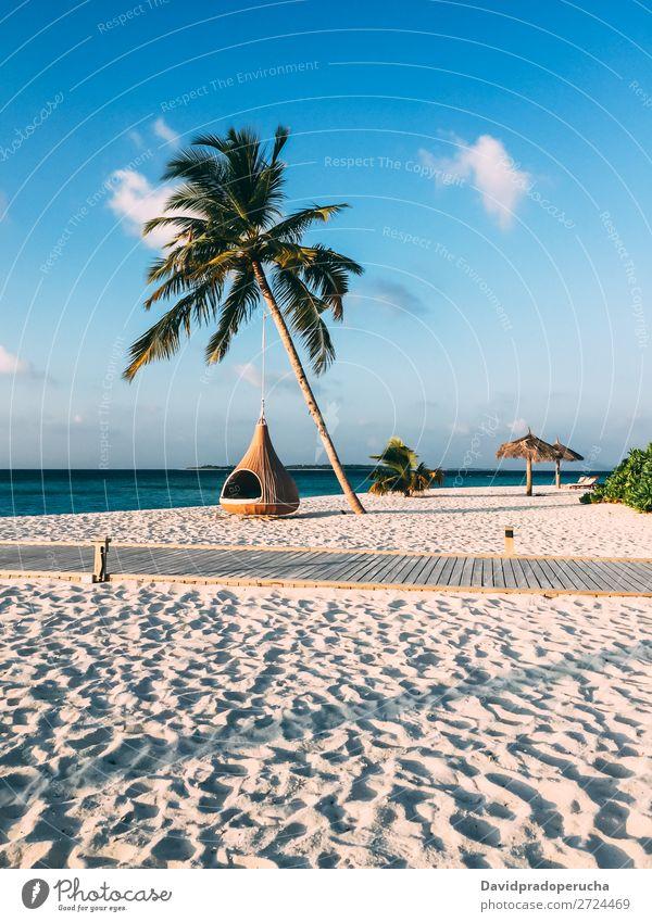 Malediveninsel Luxusresort Palme mit Hängematte Insel Strand Reichtum Resort Idylle