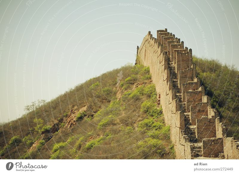 Aufstieg Natur Landschaft Himmel Wolkenloser Himmel Frühling Schönes Wetter Pflanze Baum Gras Sträucher Feld Wald Hügel Felsen China Skyline Menschenleer Ruine