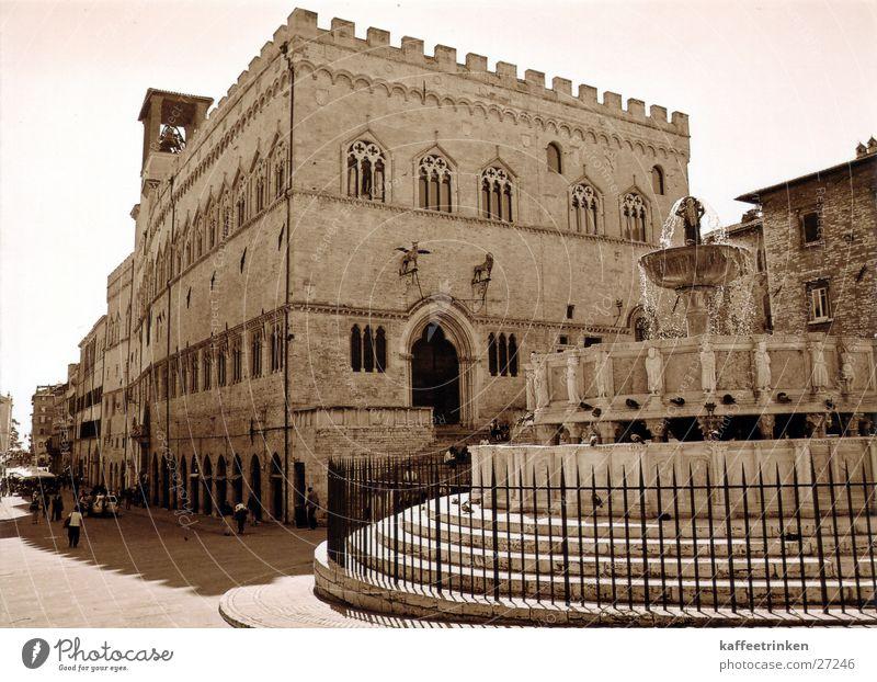 Perugia - Italien Europa Brunnen Tourist Sepia Springbrunnen Attraktion