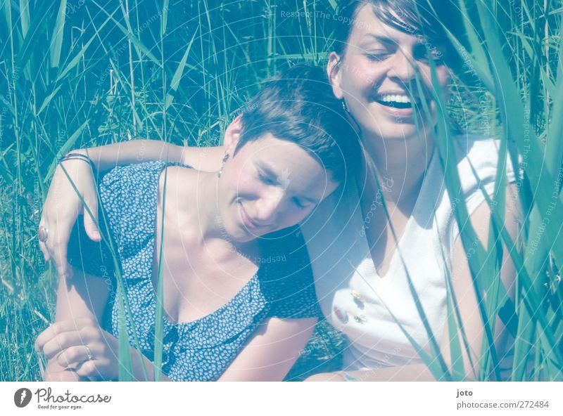 zweisam feminin Homosexualität Jugendliche 2 Mensch Sommer Schilfrohr berühren Lächeln lachen Fröhlichkeit Glück positiv Freude Zufriedenheit Lebensfreude