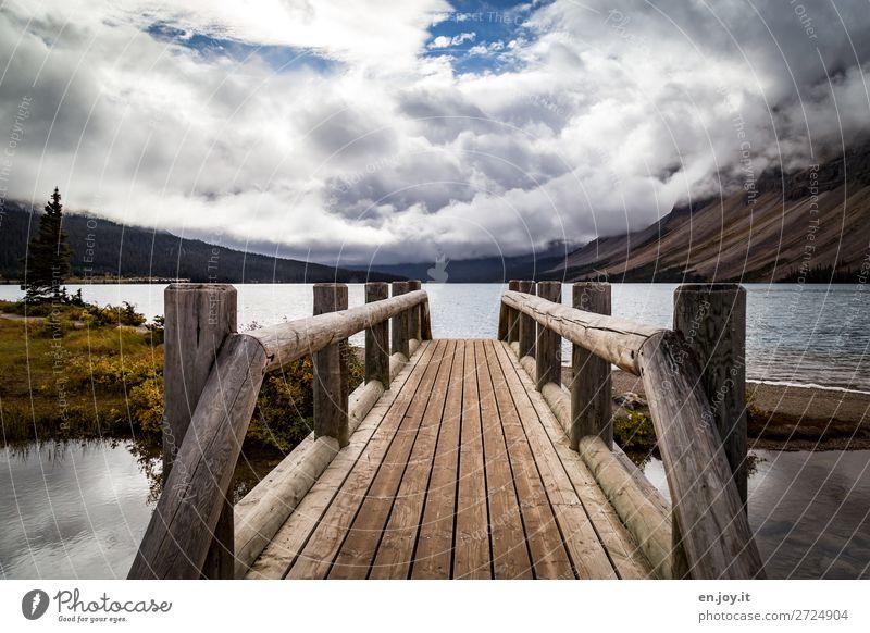 Sprungbrett Ferien & Urlaub & Reisen Ausflug Natur Landschaft Wolken Herbst Berge u. Gebirge Seeufer Bow Lake Brücke Steg Holzbrücke Brückengeländer nachhaltig