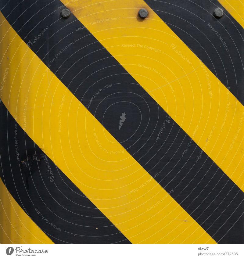 attention: gelb Metall Linie Schilder & Markierungen Verkehr modern frisch authentisch ästhetisch Hinweisschild Streifen bedrohlich Grafik u. Illustration einfach rein Zeichen