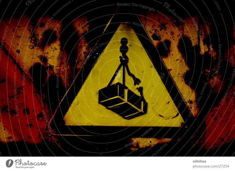 Achtung Industrie Schilder & Markierungen Respekt Rost Vorsicht Warnhinweis alt