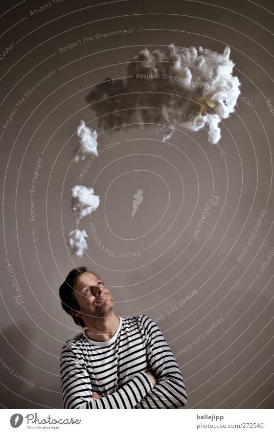 geile idee! Mensch Mann Wolken Erwachsene lachen Kopf Denken maskulin planen Kreativität Idee Plan Designer Bewusstsein Brainstorming Werbefachmann