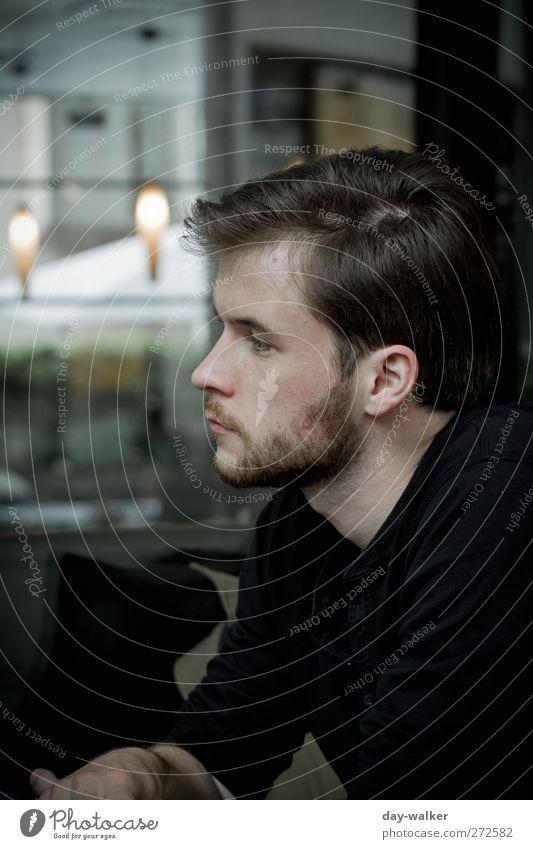 UT S/HD | Deep in Minds Mensch maskulin Mann Erwachsene 1 18-30 Jahre Jugendliche schwarz träumen nachdenklich Bart Farbfoto Außenaufnahme Tag Licht Schatten