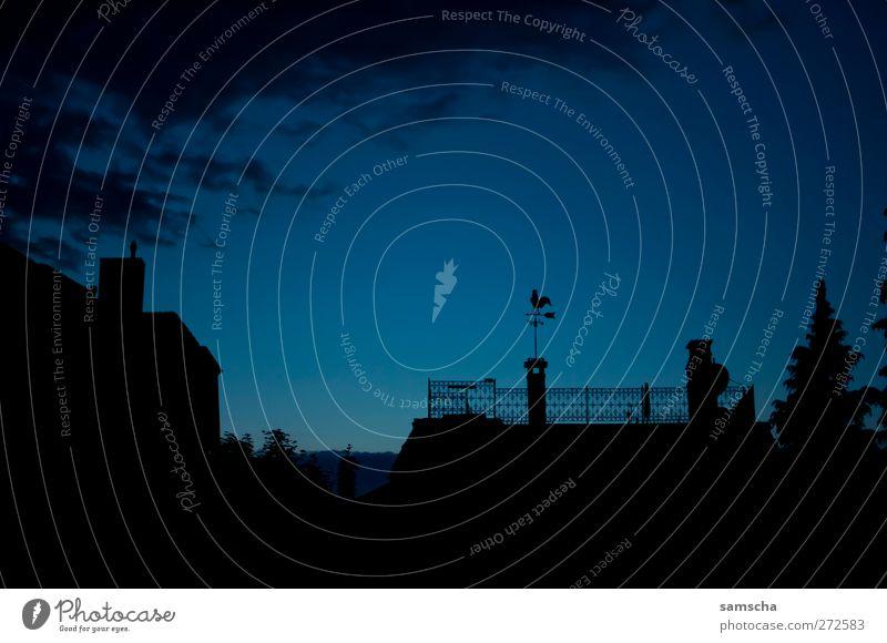 Good night... blau Stadt Haus schwarz Erholung dunkel träumen Stimmung schlafen Dach Hoffnung Idylle Frieden Sehnsucht gruselig Abenddämmerung