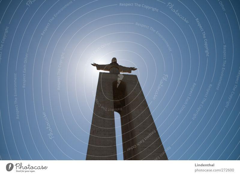 Schlaghosen Jesus Jesus Christus Christentum Lissabon Gott Erkenntnis Licht Sonne Himmel blau Macht groß hoch kommen Statue Religion & Glaube