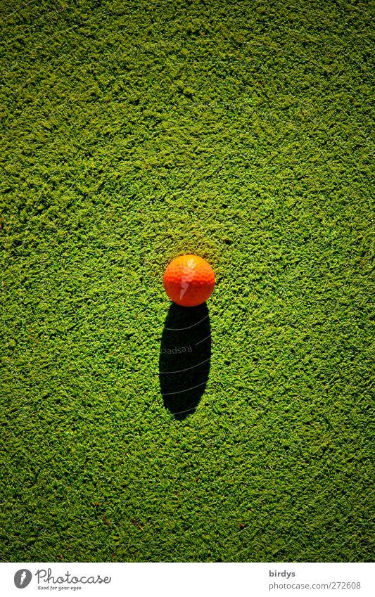 Spielball grün Sport orange leuchten rund Sportrasen Kugel Golf Mittelpunkt Objektfotografie Golfball grasgrün Kunstrasen kugelrund punktuell