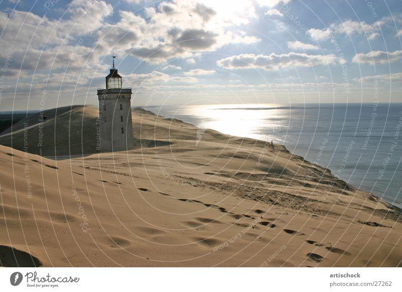 Düne Meer Wolken Sand Stranddüne Leuchtturm Dänemark
