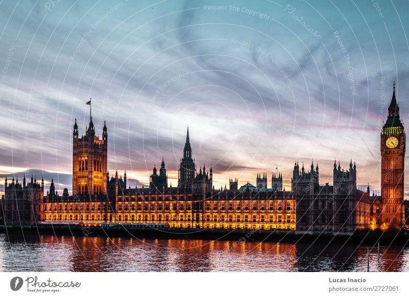 Sonnenuntergang im Big Ben in London, England Ferien & Urlaub & Reisen Tourismus Winter Uhr Umwelt Natur Himmel Wolken Fluss Stadtzentrum Skyline
