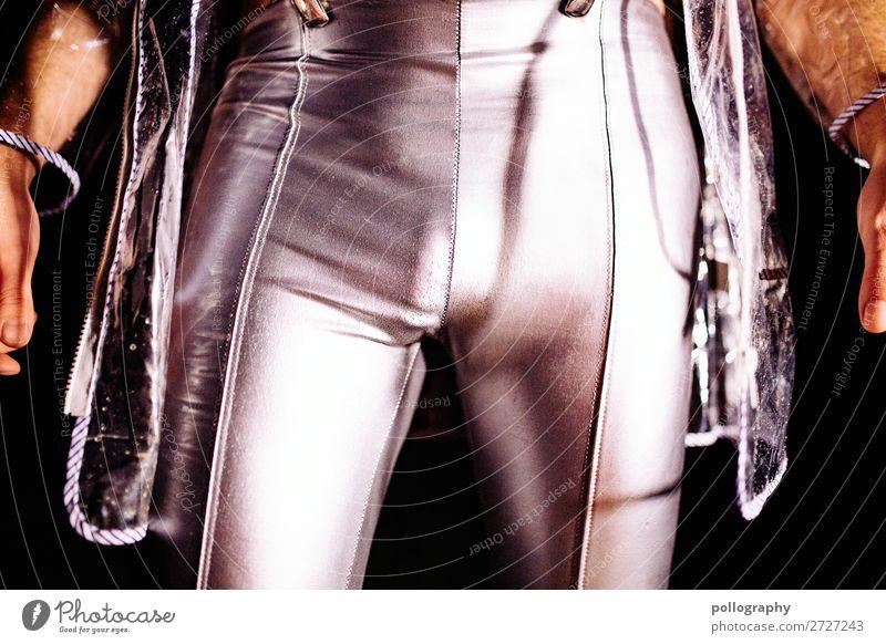 silver man Lifestyle Stil exotisch maskulin Mann Erwachsene Intimbereich 1 Mensch Kunst Mode Hose Mantel stehen ästhetisch außergewöhnlich elegant Erotik frech
