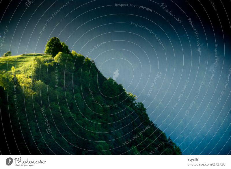 Morgensonne Natur blau Ferien & Urlaub & Reisen grün schön Baum Pflanze Sommer Landschaft gelb kalt Berge u. Gebirge Frühling grau Glück Zufriedenheit
