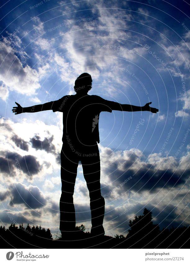 Frei sein !?! Gegenlicht Wolken Mensch Freiheit