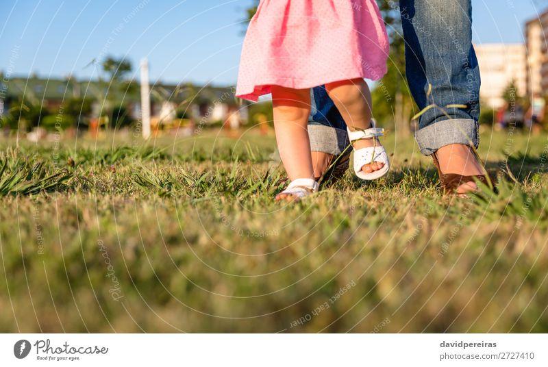 Baby-Mädchen, das lernt, über einen Rasenpark zu laufen. Lifestyle Freude Glück Freizeit & Hobby Sommer Garten Mensch Kleinkind Frau Erwachsene Mutter