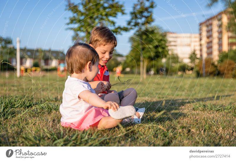 Kleinkind und Kind beim Spielen auf einem Rasenplatz sitzend Lifestyle Freude Glück schön Freizeit & Hobby Sommer Garten Mensch Baby Junge Schwester