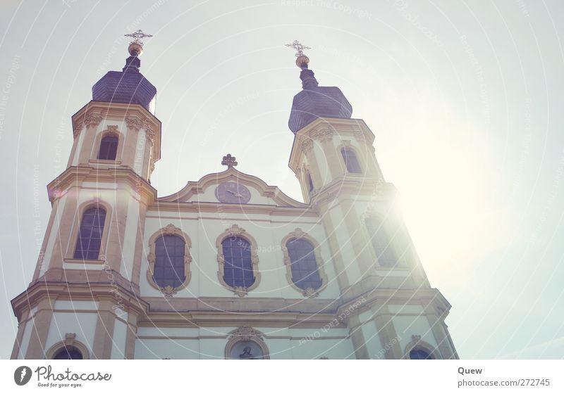 Käppele Architektur Kirche Bauwerk Fassade Sehenswürdigkeit ästhetisch schön gold Kultur Kunst Kirchturm Kapelle Würzburg Farbfoto Außenaufnahme Tag Licht