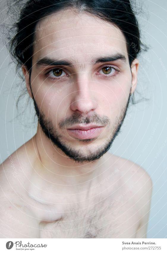 . maskulin Junger Mann Jugendliche Körper Haut Kopf Haare & Frisuren Gesicht Mund Lippen Rücken Brust 1 Mensch 18-30 Jahre Erwachsene Mauer Wand schwarzhaarig