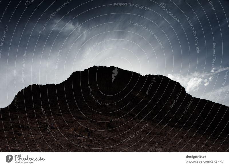 Horeb Umwelt Natur Landschaft Himmel Wolken Felsen Berge u. Gebirge Sinai-Berg Moseberg Mose-Berg Gipfel Ägypten Sinai-Halbinsel Asien Afrika dunkel groß hoch